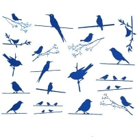 Decal - Birds on the Wire - Gold - Click for more info